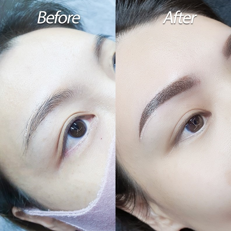 before and after eyebrow ombre brows