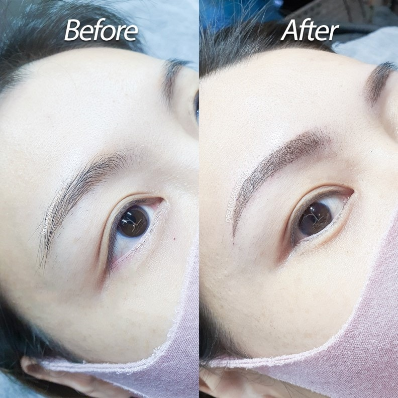 before and after eyebrow powdered brows